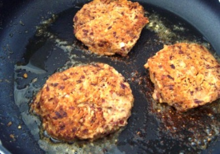 Frying the burgers
