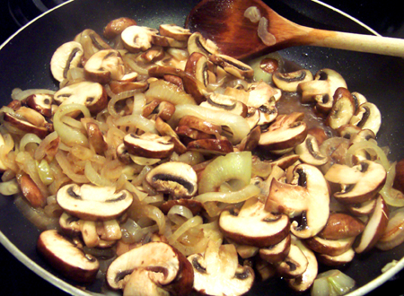 Saute mushrooms and onions